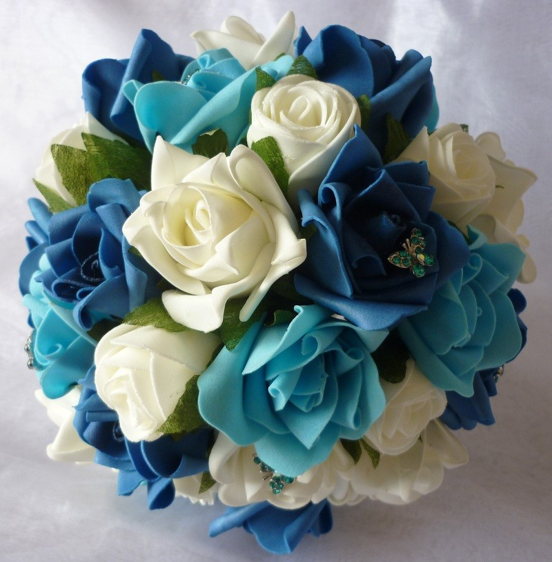 teal bridal flowers