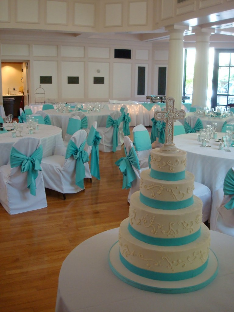 teal cake ribbon and teal organza sahes and chair covers