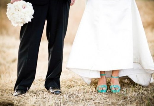 teal wedding shoes idea