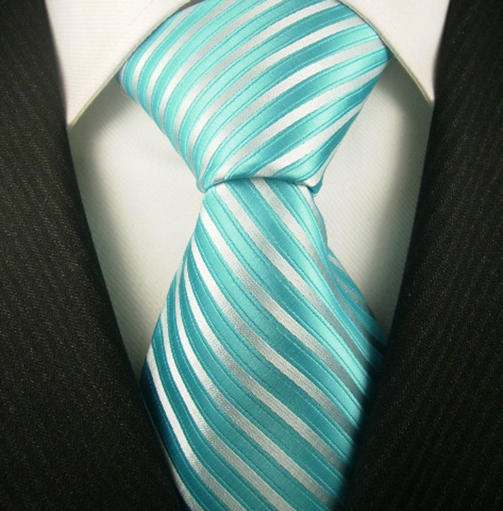 teal tie wedding stiped